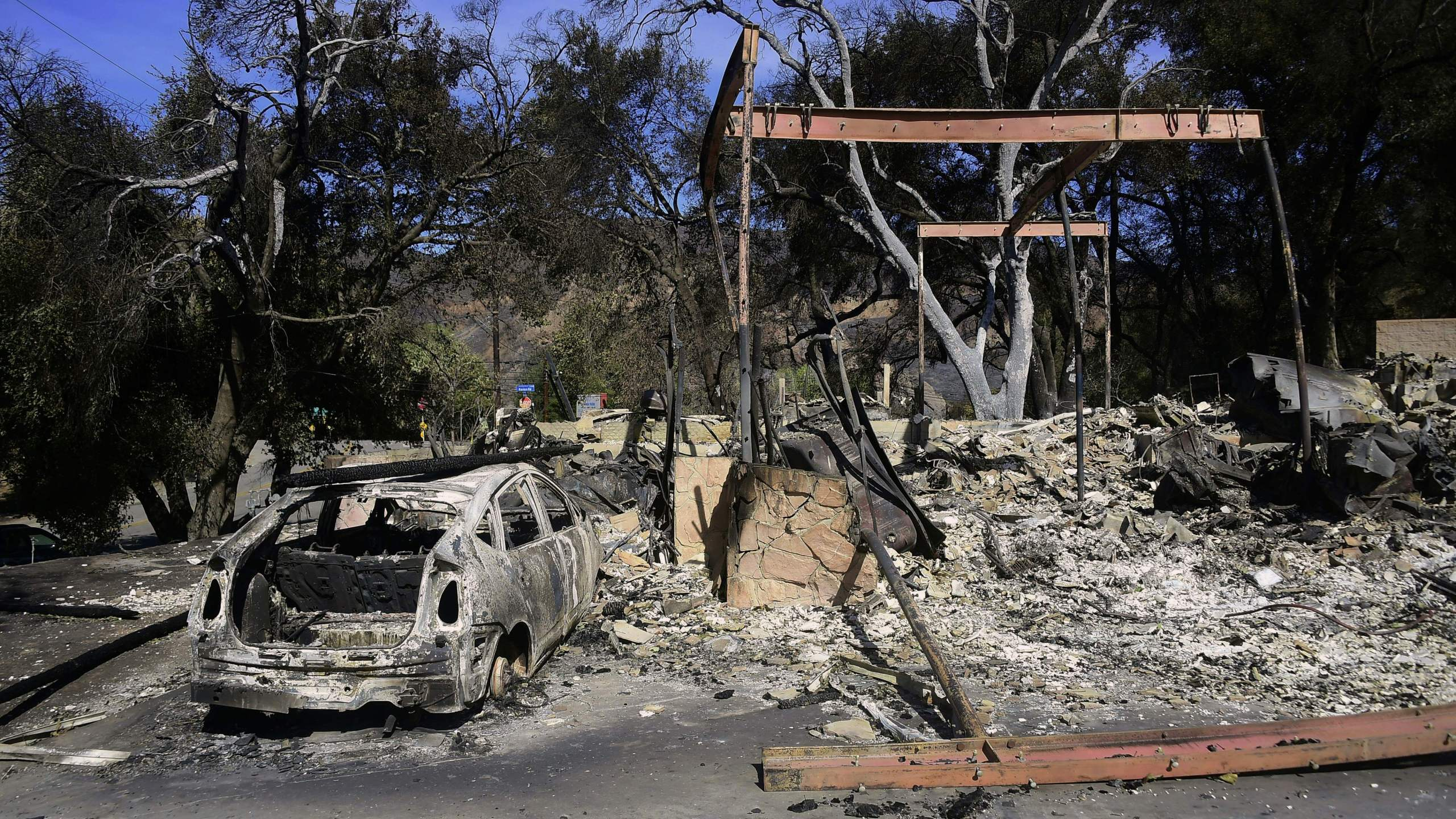 Property destroyed in the Woolsey Fire is seen on Sierra Creek Road in Agoura Hills on Nov. 15, 2018.(Credit: FREDERIC J. BROWN/AFP/Getty Images)