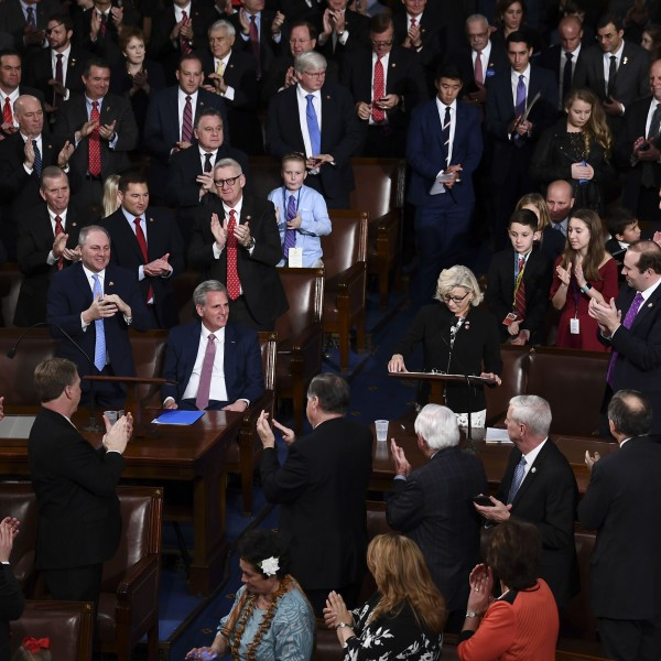 Liz Cheney, incoming GOP House Conference chairwoman, speaks at the start of the 116th Congress and swearing-in ceremony on the floor of the U.S. House of Representatives at the U.S. Capitol on Jan. 3, 2019, in Washington, D.C. (Credit: BRENDAN SMIALOWSKI/AFP/Getty Images)