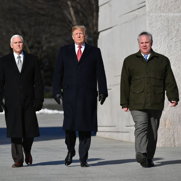 Donald Trump, Vice President Mike Pence (left) and acting Interior Secretary David Bernhardt (right) visit the Martin Luther King Jr. Memorial in Washington, D.C. on Jan. 21, 2019. (Credit: Mandel Ngan/AFP/Getty Images)