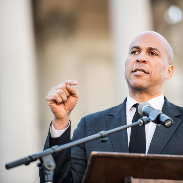 Sen. Cory Booker (D-NJ) addresses the crowd during the annual Martin Luther King Jr. Day at the Dome event on January 21, 2019 in Columbia, South Carolina. (Credit: Sean Rayford/Getty Images)