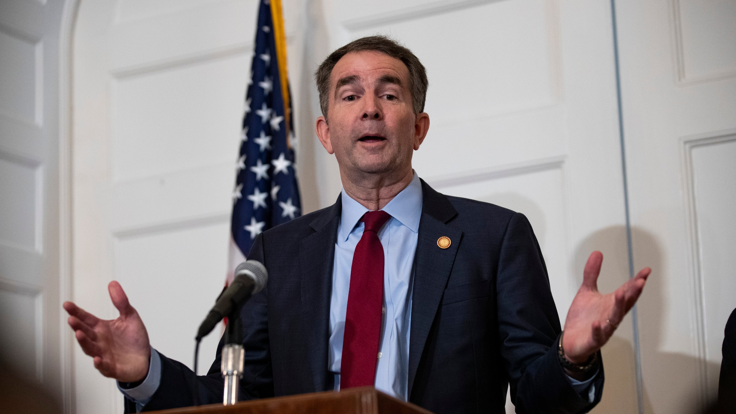Virginia Governor Ralph Northam speaks with reporters at a press conference at the Governor's mansion on February 2, 2019 in Richmond, Virginia. (Credit: Alex Edelman/Getty Images)