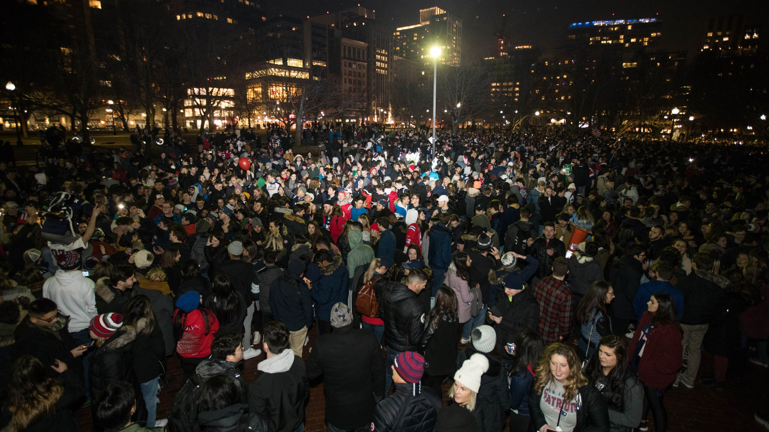 Thousands of New England Patriots fans gather on the Boston Common after the New England Patriots beat the Los Angeles Rams in Super Bowl LIII on February 3, 2019. (Credit: Scott Eisen/Getty Images)