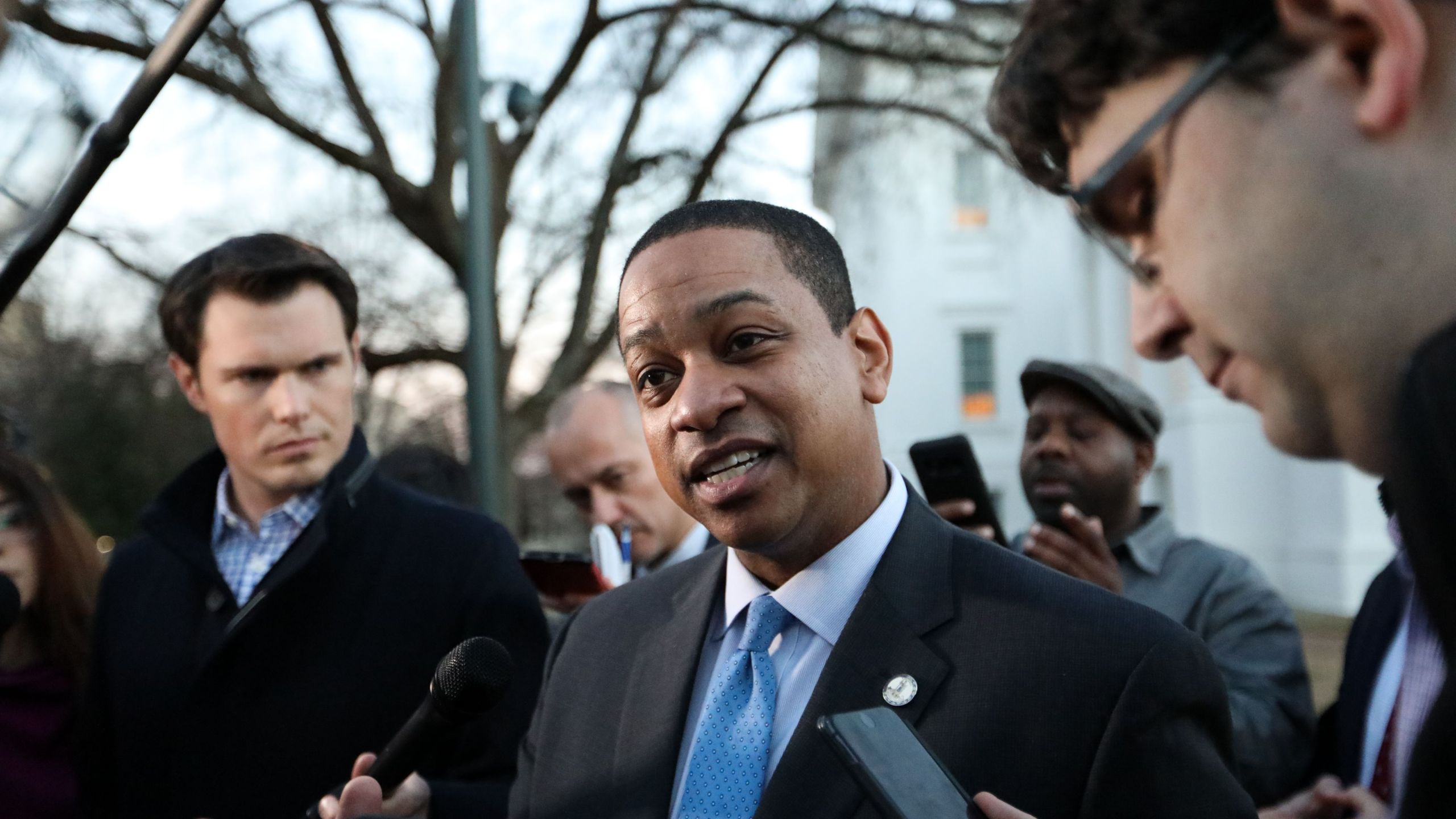 Virginia Lt. Gov. Justin Fairfax addresses the media about a sexual assualt allegation from 2004 outside of the capital building in downtown Richmond on Feb. 4, 2019. (Credit: LOGAN CYRUS/AFP/Getty Images)