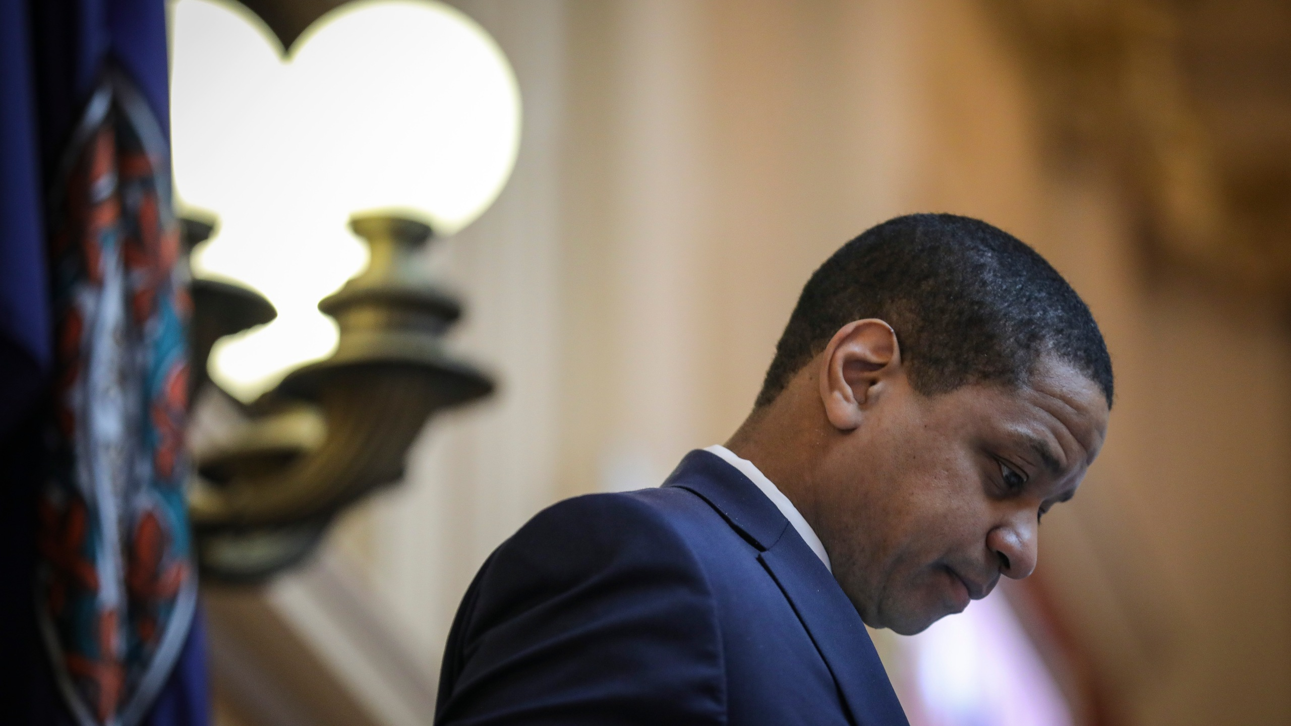 Virginia Lt. Gov. Justin Fairfax presides over the Senate at the Virginia State Capitol on Feb. 7, 2019 in Richmond, Virginia. (Credit: Drew Angerer/Getty Images)