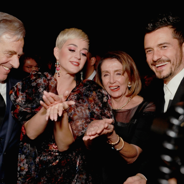 From left: Paul Pelosi, Katy Perry, Nancy Pelosi, and Orlando Bloom attend MusiCares Person of the Year honoring Dolly Parton at Los Angeles Convention Center on Feb. 8, 2019 in Los Angeles. (Credit: Rich Fury/Getty Images for The Recording Academy)