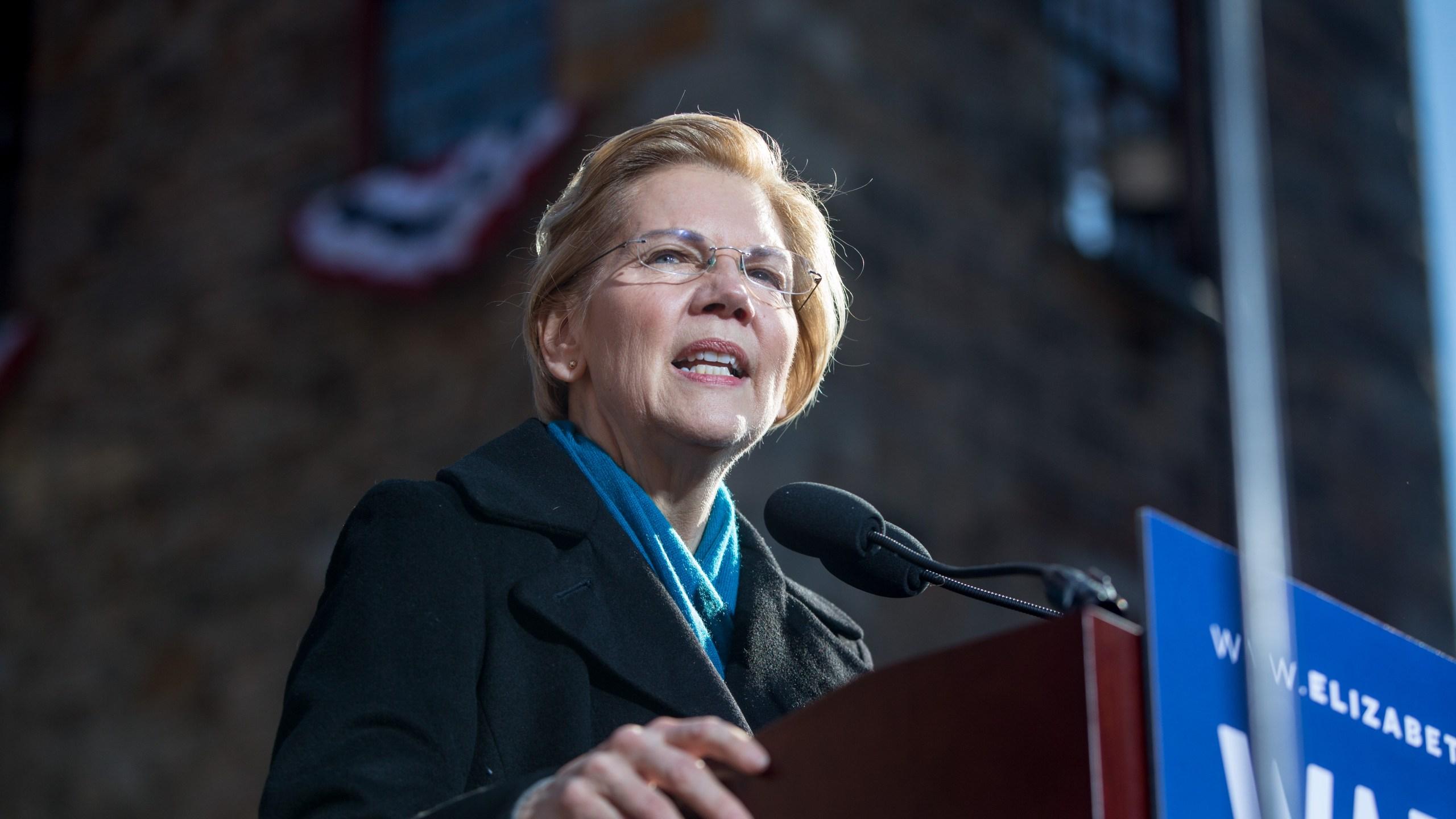 Sen. Elizabeth Warren (D-MA) announces her official bid for president on Feb. 9, 2019 in Lawrence, Massachusetts. (Credit: Scott Eisen/Getty Images)