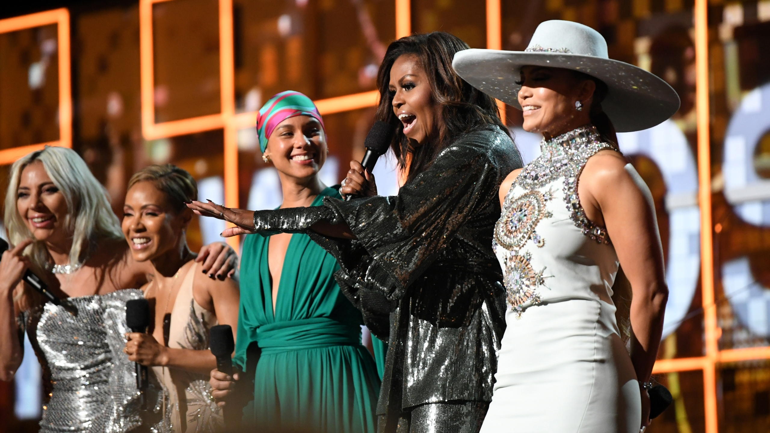 (L-R) Lady Gaga, Jada Pinkett Smith, Alicia Keys, Michelle Obama, and Jennifer Lopez speak onstage during the 61st Annual GRAMMY Awards at Staples Center on February 10, 2019 in Los Angeles, California. (Credit: Emma McIntyre/Getty Images for The Recording Academy)