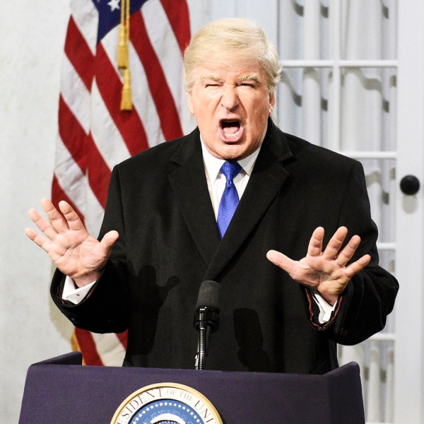 "Alec Baldwin appears as Donald Trump during the ""Trump Press Conference"" Cold Open on Saturday, February 16, 2019 (Credit: Will Heath/NBC/NBCU Photo Bank via Getty Images)"