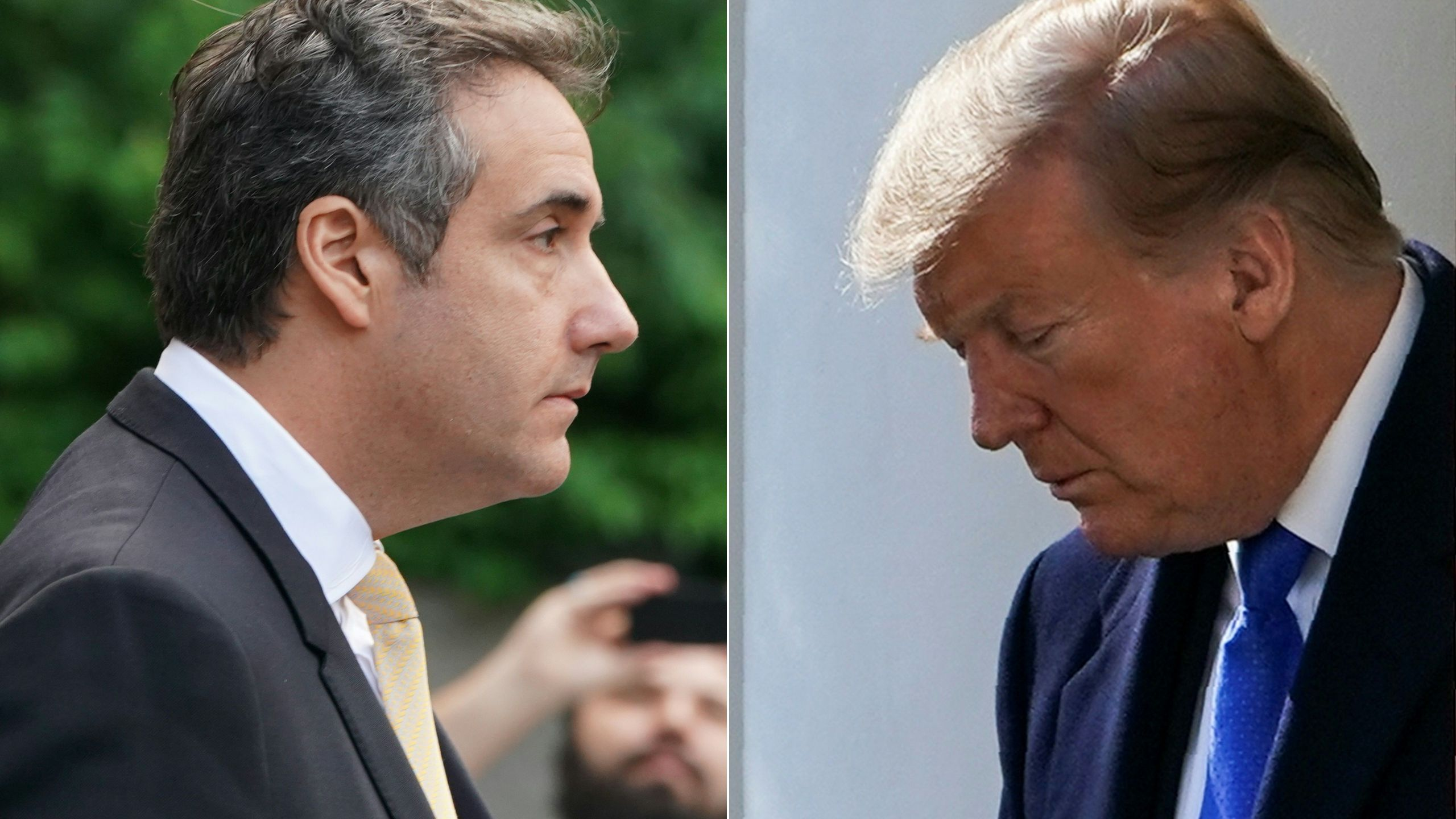This combination of pictures created on Feb. 26, 2019, shows Michael Cohen, former personal lawyer for U.S. President Donald Trump, leaving federal court on Aug. 21, 2018, in New York, and U.S. President Donald Trump arriving to deliver remarks in the Rose Garden at the White House in Washington, D.C. on Feb. 15, 2019. (Credit: DON EMMERT, BRENDAN SMIALOWSKI/AFP/Getty Images)