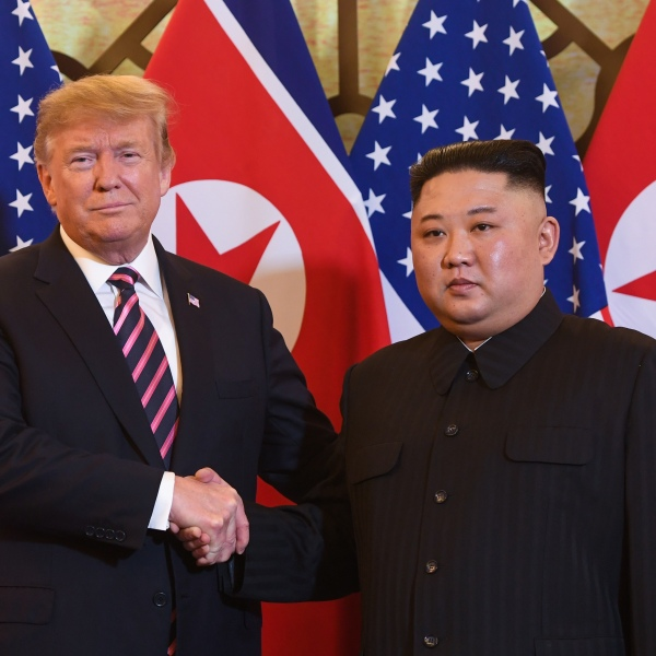 U.S. President Donald Trump shakes hands with North Korea's leader Kim Jong Un before a meeting at the Sofitel Legend Metropole hotel in Hanoi on Feb. 27, 2019. (Credit: SAUL LOEB/AFP/Getty Images)