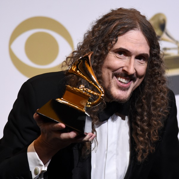 """""""Weird Al"""" Yankovic poses with the Best Boxed or Special Limited Edition Package award in the press room during the 61st Annual GRAMMY Awards at Staples Center on Feb. 10, 2019. (Credit: Amanda Edwards/Getty Images)"""