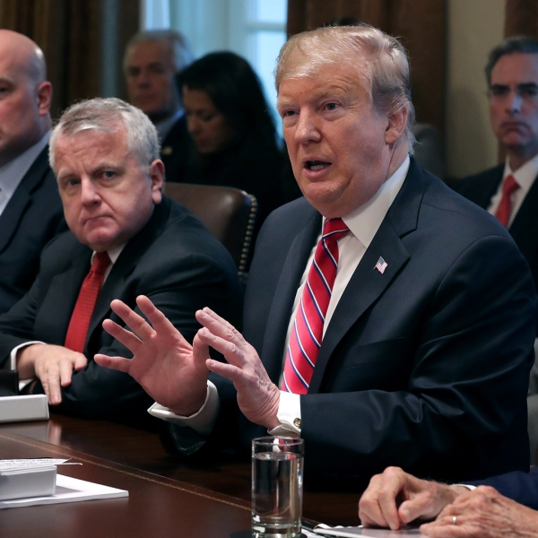 U.S. President Donald Trump talks to reporters during a meeting in the Cabinet Room at the White House on Feb. 12, 2019, in Washington, D.C. (Credit: Chip Somodevilla/Getty Images)