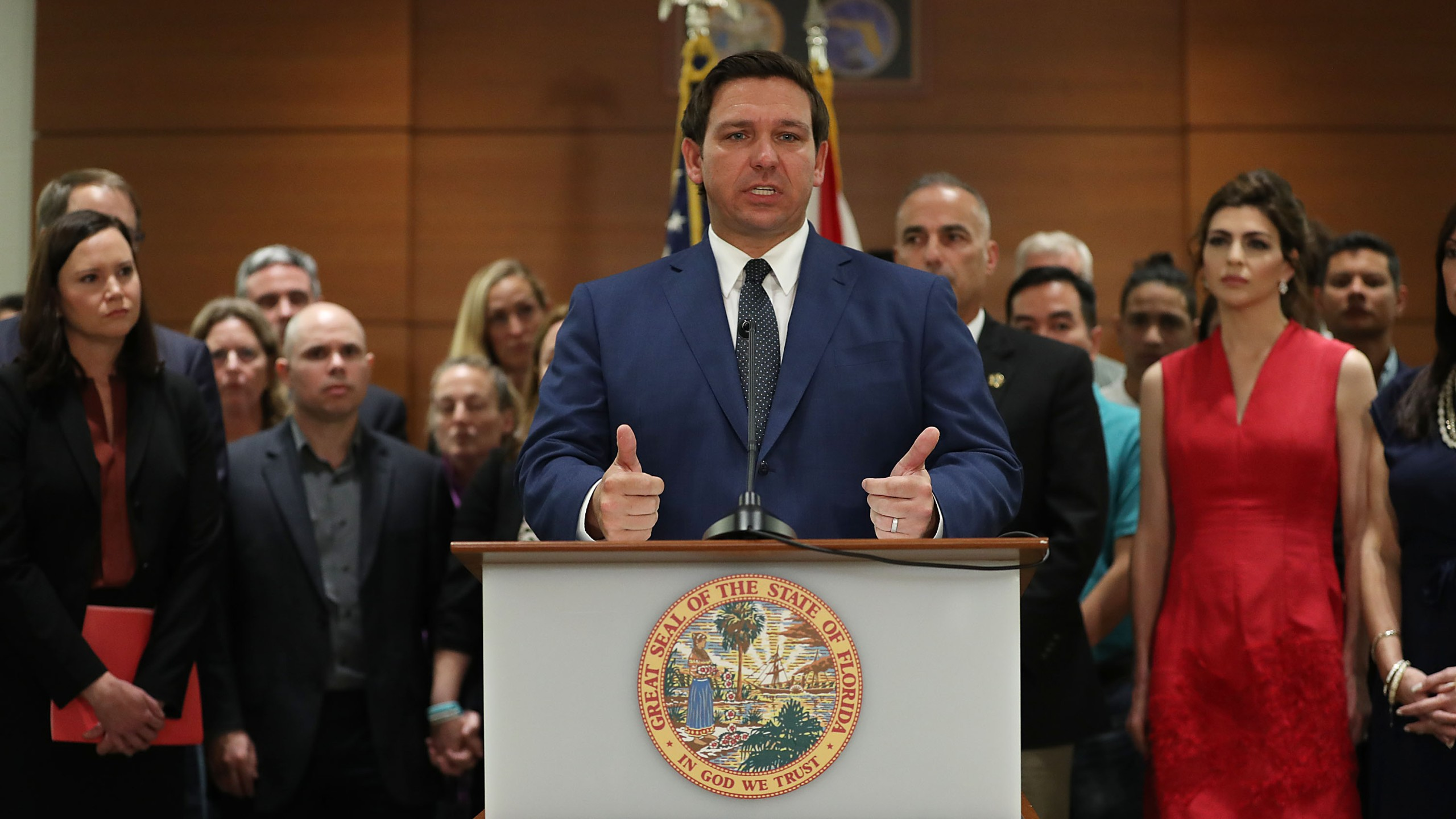Gov. Ron DeSantis announces that he is ordering a statewide grand jury investigation into how school districts in the state handle student security on Feb. 13, 2019, in Fort Lauderdale. (Credit: Joe Raedle/Getty Images)