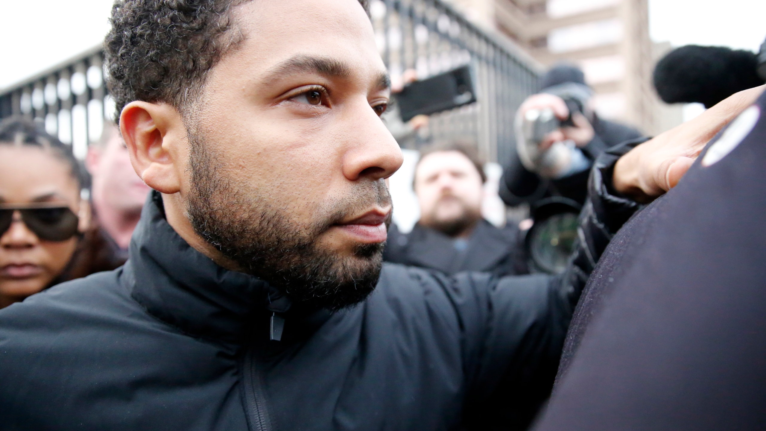 Empire actor Jussie Smollett leaves Cook County jail after posting bond on February 21, 2019 in Chicago, Illinois. (Credit: Nuccio DiNuzzo/Getty Images)