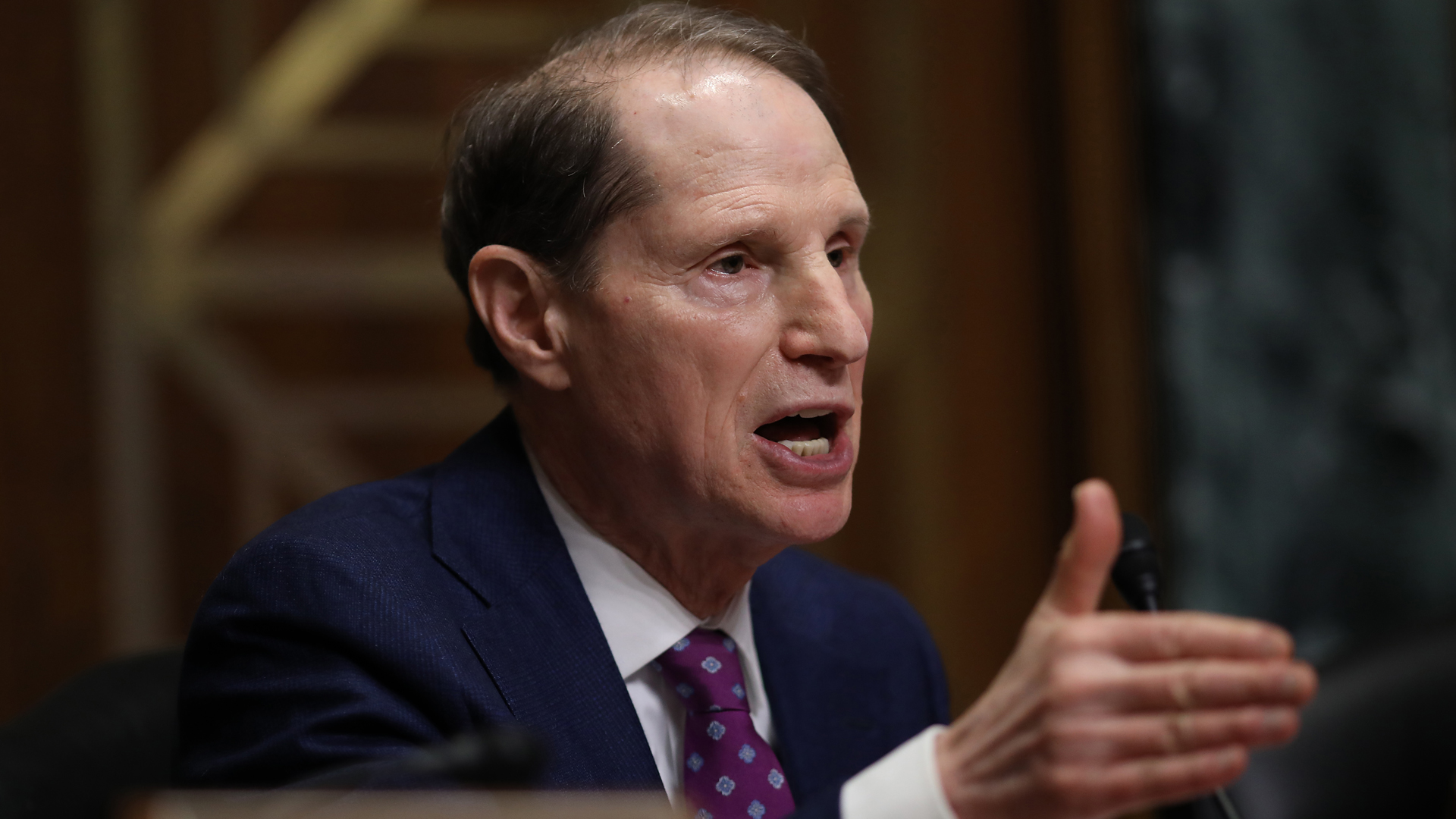 Sen. Ron Wyden asks questions to a panel of pharmaceutical company CEOs during a hearing held by the Senate Finance Committee on Feb. 26, 2019, in Washington, D.C. (Credit: Win McNamee/Getty Images)