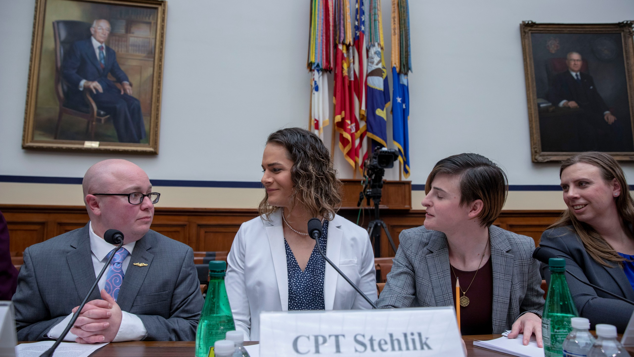 """Navy Lt. Commander Blake Dremann, Army Capt. Alivia Stehlik, Army Capt. Jennifer Peace and Army Staff Sgt. Patricia King at the Military Personnel Subcommittee hearing on """"Transgender Service Policy"""" on Capital Hill on Feb. 27, 2019, in Washington, D.C. (Credit: Tasos Katopodis/Getty Images)"""