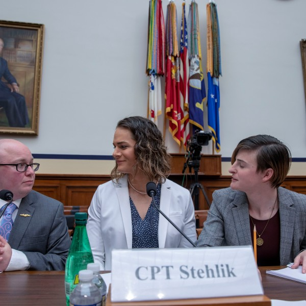 "Navy Lt. Commander Blake Dremann, Army Capt. Alivia Stehlik, Army Capt. Jennifer Peace and Army Staff Sgt. Patricia King at the Military Personnel Subcommittee hearing on ""Transgender Service Policy"" on Capital Hill on Feb. 27, 2019, in Washington, D.C. (Credit: Tasos Katopodis/Getty Images)"