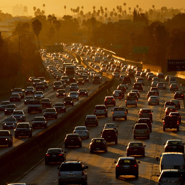 Heavy traffic clogs the 101 Freeway in Los Angeles as people leave work for the Labor Day holiday on Aug. 29, 2014. (Credit: Mark Ralston / AFP / Getty Images)