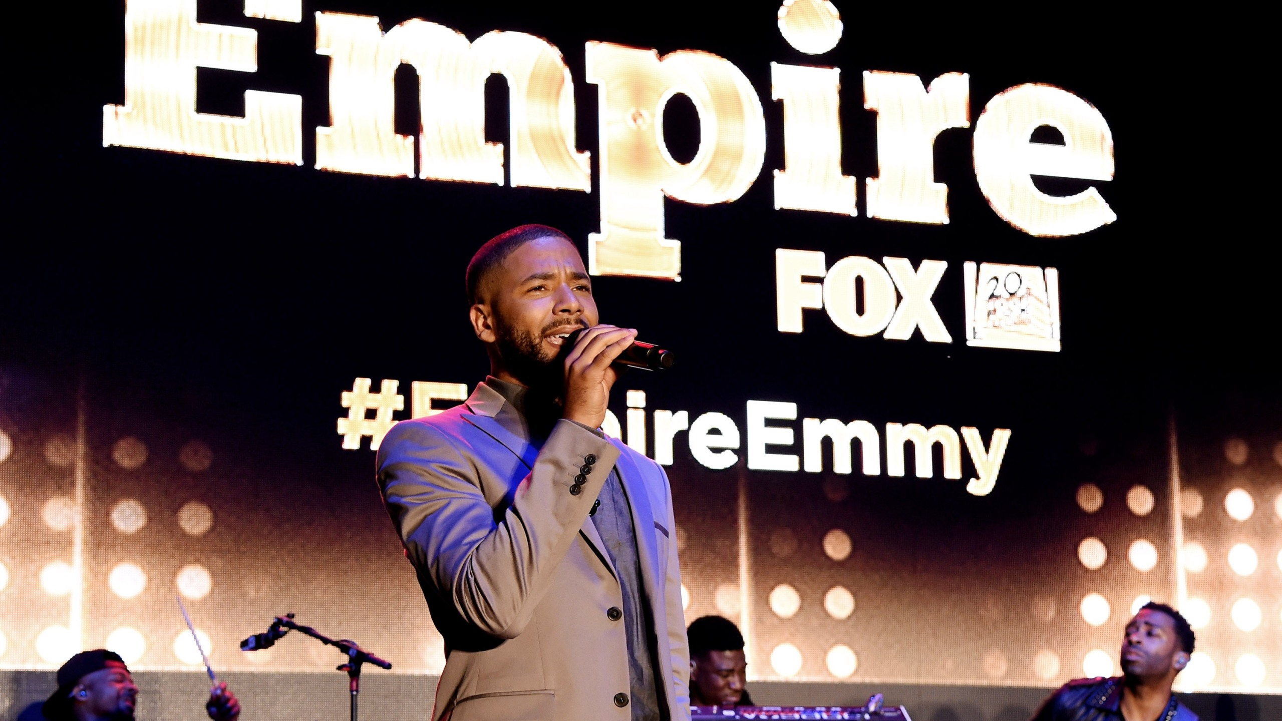 """Actor/singer Jussie Smollett performs at the Television Academy event for Fox TV's """"Empire"""" - A Performance Under The Stars at The Grove on May 28, 2015, in Los Angeles. (Credit: Kevin Winter/Getty Images)"""