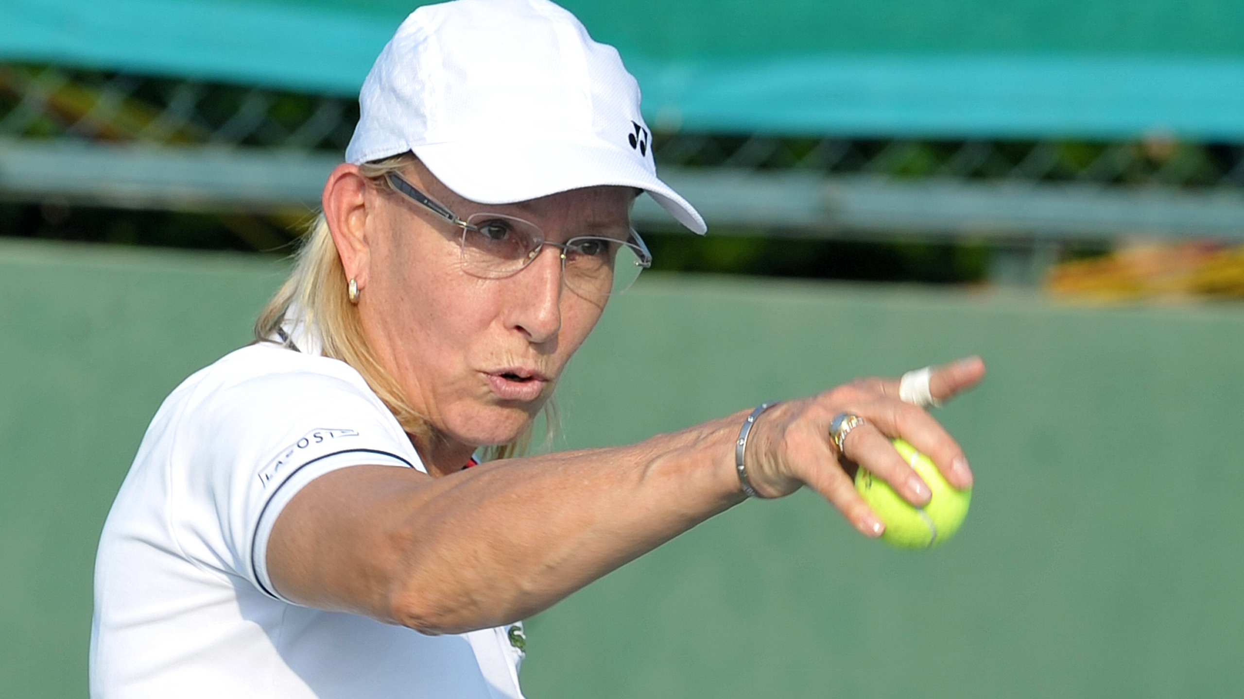Martina Navratilova takes part in a mixed doubles exhibition match during the Tennis Masters Hyderabad 2015 at the Sania Mirza Tennis Academy (SMTA) in Hyderabad on November 26, 2015. (Credit: NOAH SEELAM/AFP/Getty Images)