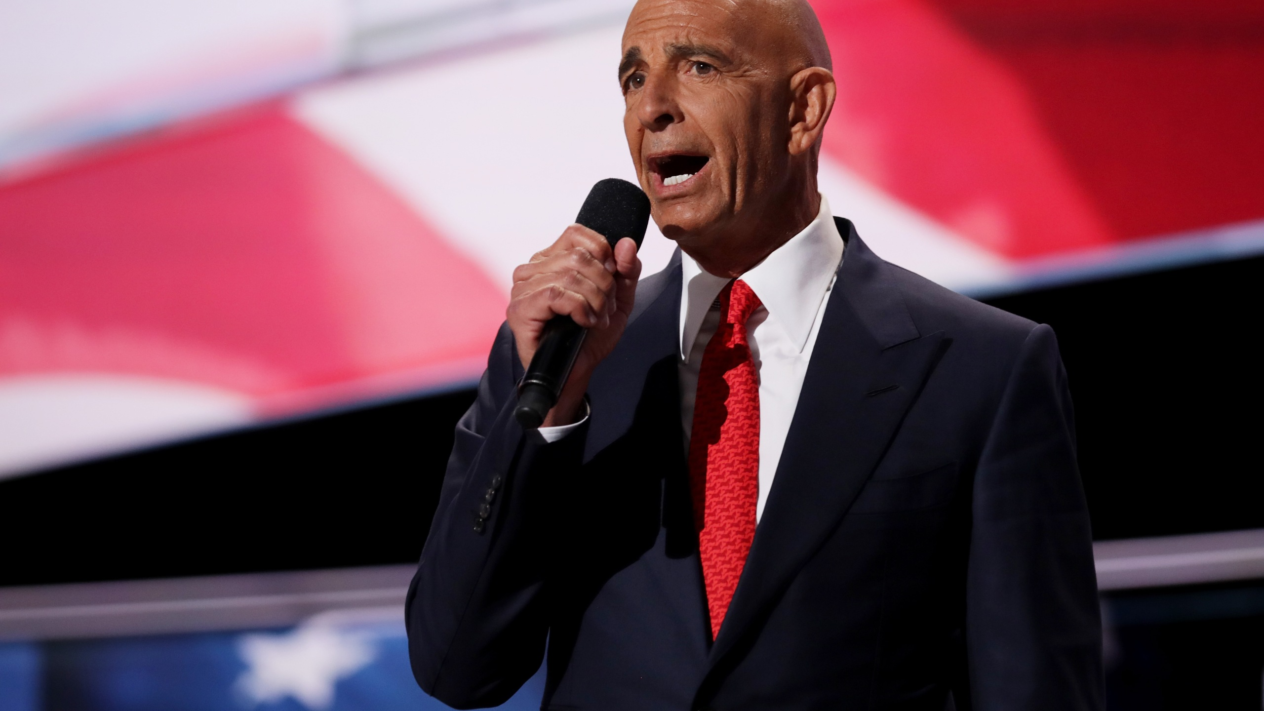 Tom Barrack, former Deputy Interior Undersecretary in the Reagan administration, delivers a speech on the fourth day of the Republican National Convention in Cleveland on July 21, 2016. (Credit: Chip Somodevilla/Getty Images)