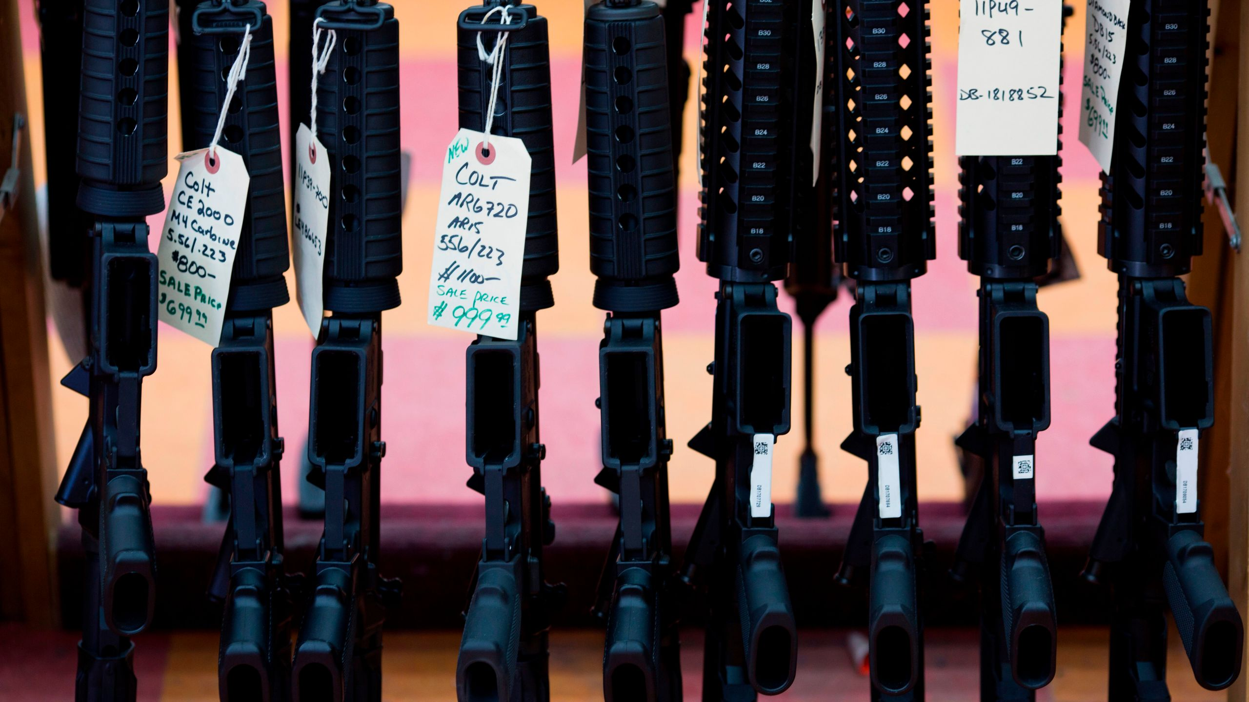 Rifles are for sale at a gun shop in Merrimack, New Hampshire, in this Nov. 5, 2016, file photo. (Credit: DOMINICK REUTER/AFP/Getty Images)