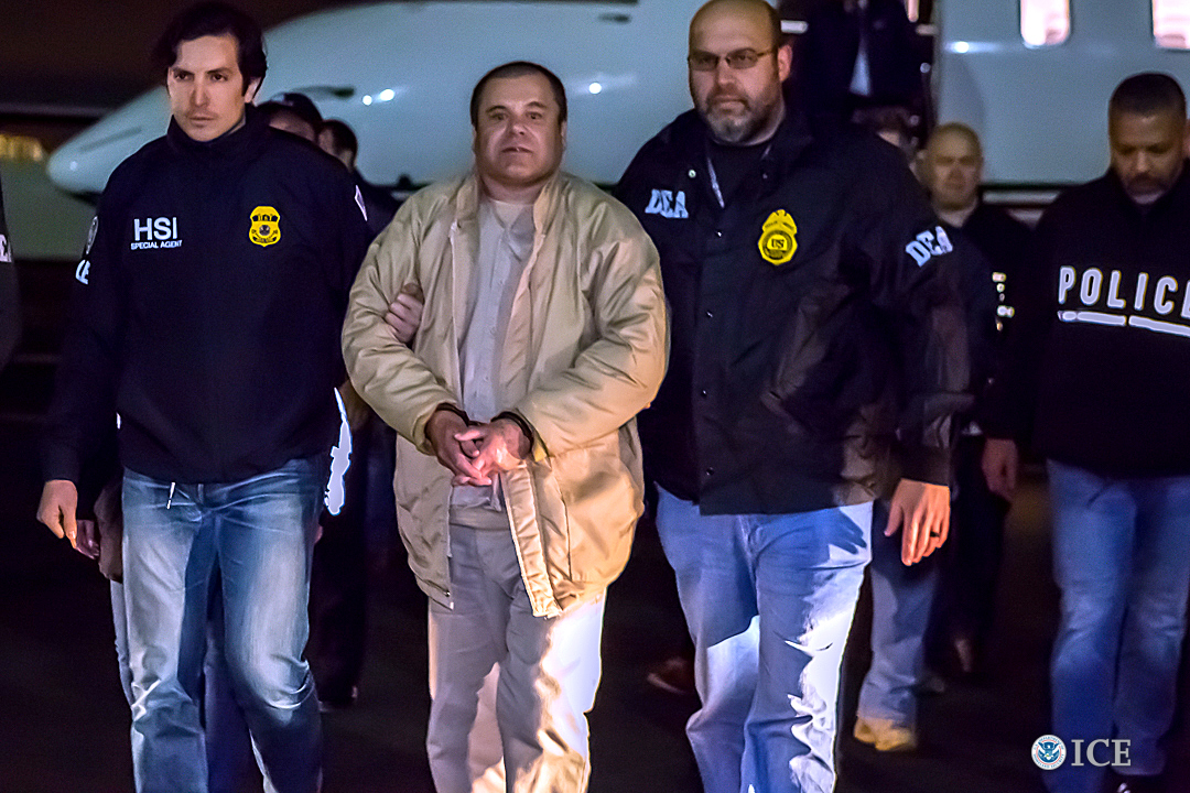 In this handout provided by U.S. Immigration and Customs Enforcement, Federal authorities announced Friday that Joaquin Archivaldo Guzman Loera will face charges filed in Brooklyn, New York, following his extradition to the United States from Mexico. (Credit: Ted Psahos/U.S. Immigration and Customs Enforcement via Getty Images)