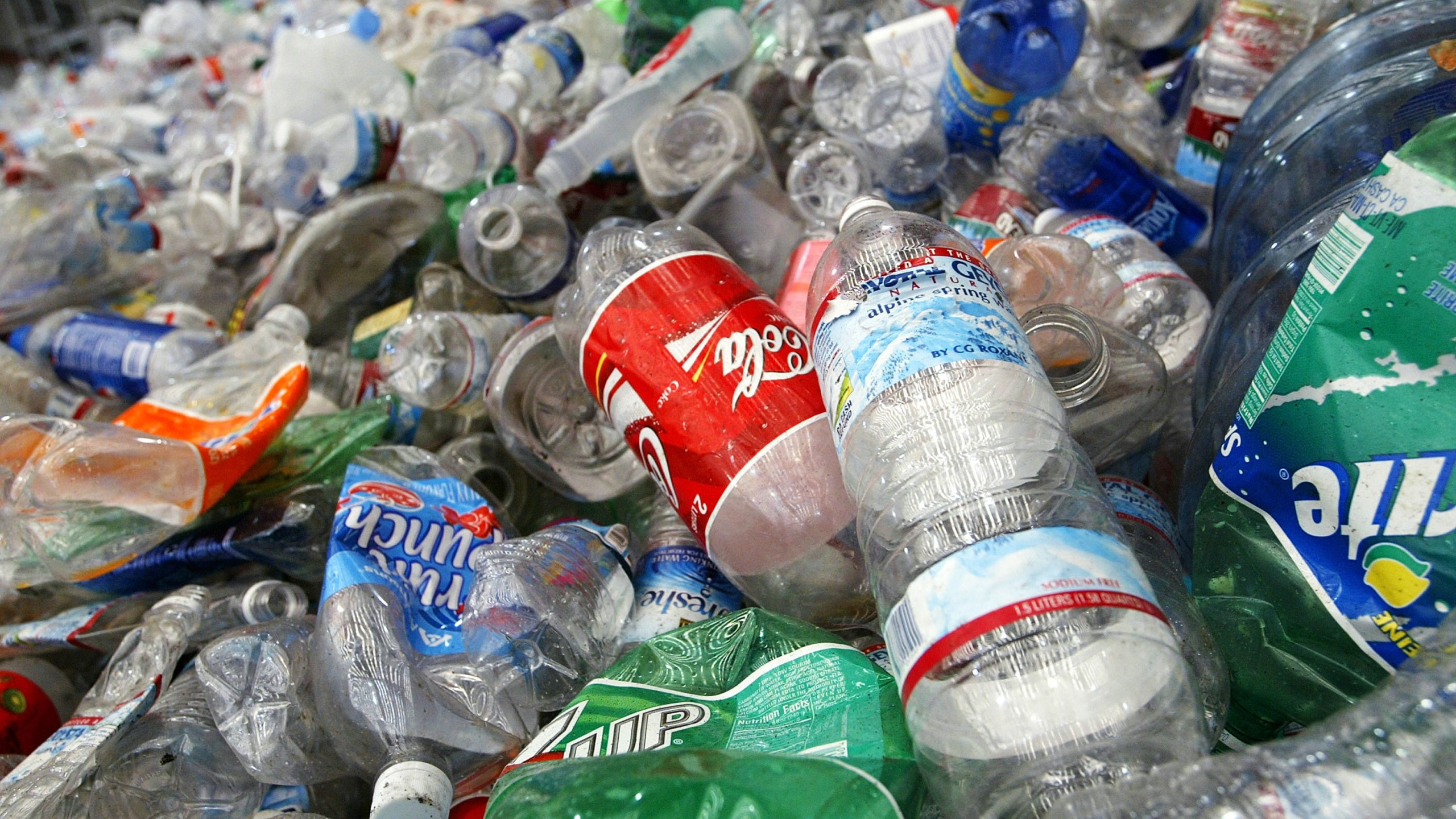 Recycled plastic bottles are seen at the San Francisco Recycling Center March 2, 2005, in San Francisco. (Justin Sullivan/Getty Images)