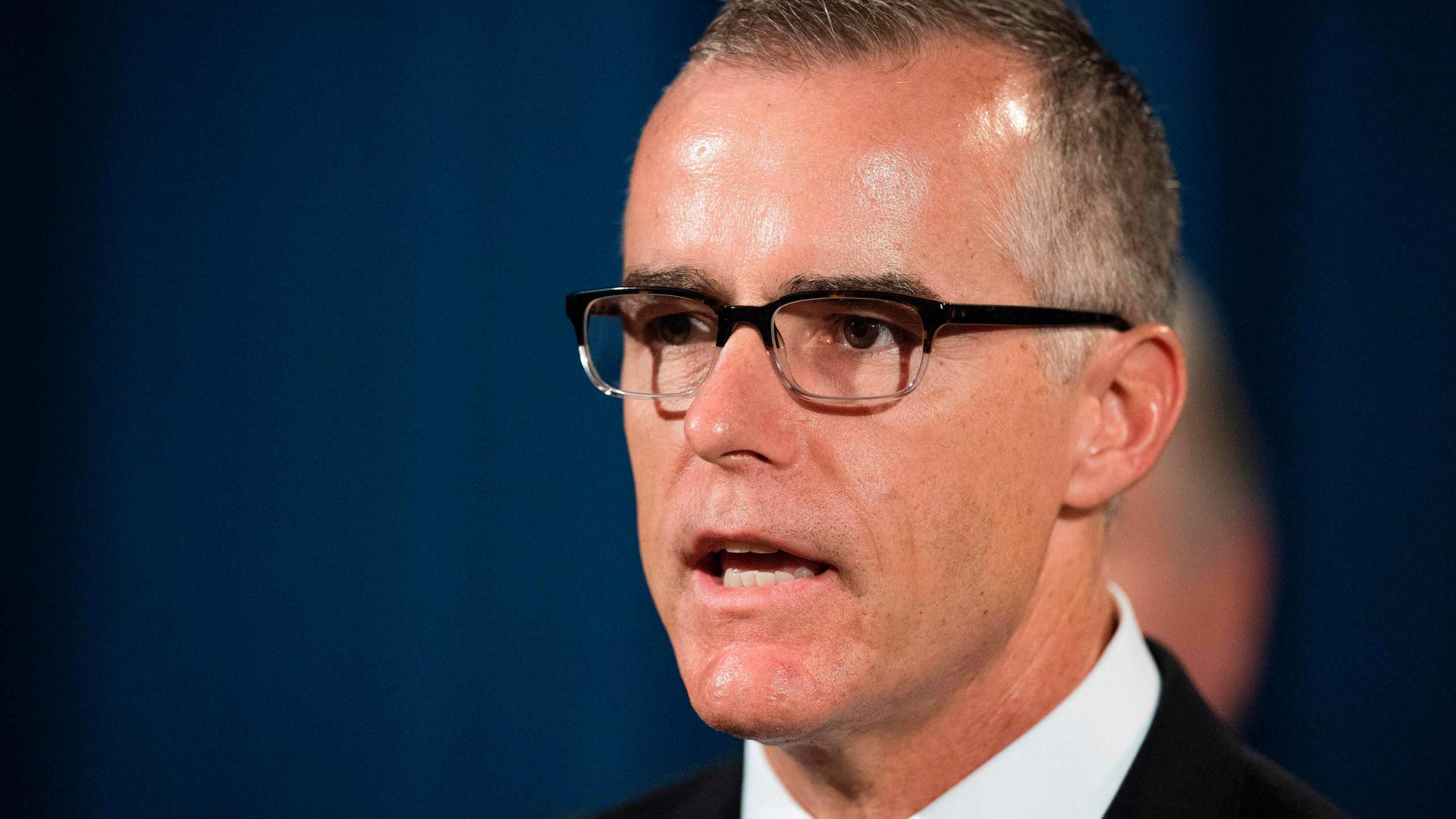 Acting Director of the Federal Bureau of Investigation (FBI) Andrew McCabe speaks during a press conference at the US Department of Justice in Washington, DC, on July 13, 2017. (Credit: JIM WATSON/AFP/Getty Images)