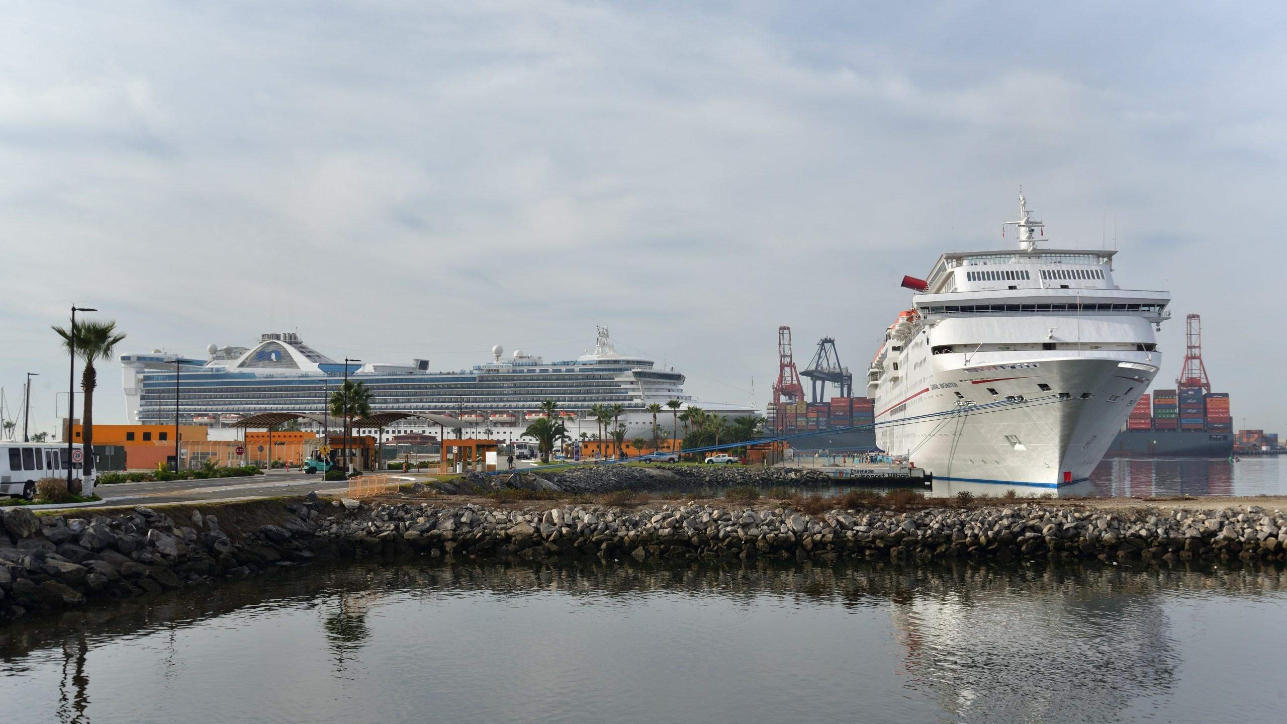 Ensenada Mexico cruise port with two cruise ships docked bringing tourism the Baja Peninsula