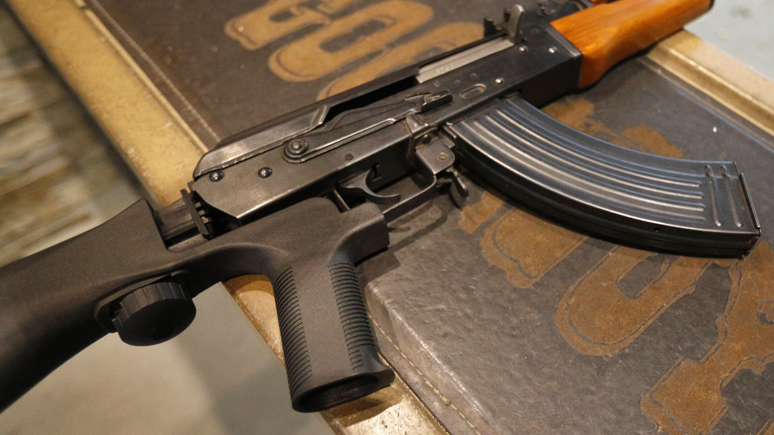 A bump stock is installed on an AK-47 with a 30 round magazine at Good Guys Gun and Range on February 21, 2018 in Orem, Utah. (Credit: George Frey/Getty Images)