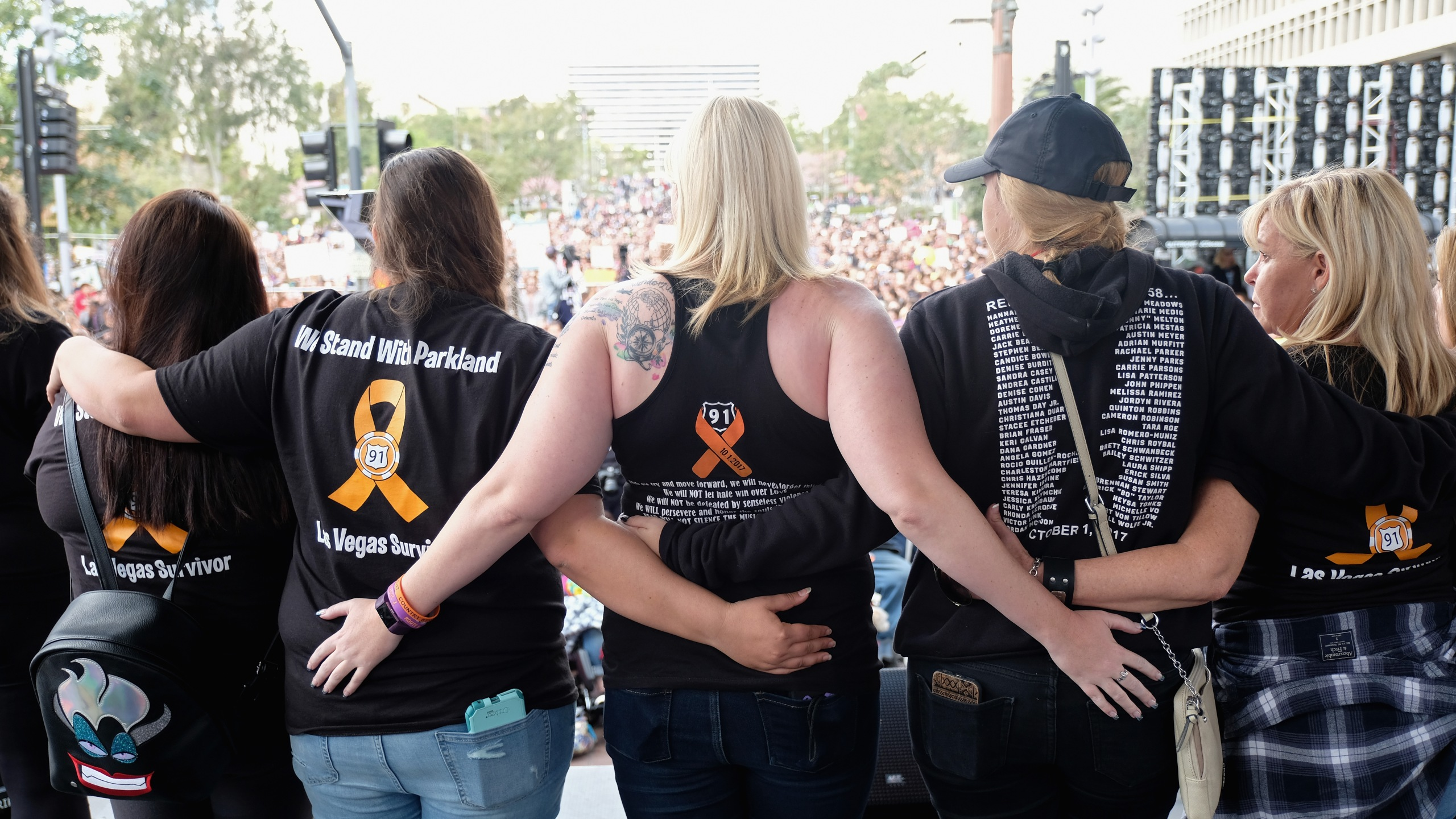 Survivors of the Route 91 Harvest music festival mass shooting in Las Vegas speak at the March for Our Lives Los Angeles rally on March 24, 2018 in Los Angeles, California. (Credit: Sarah Morris/Getty Images)