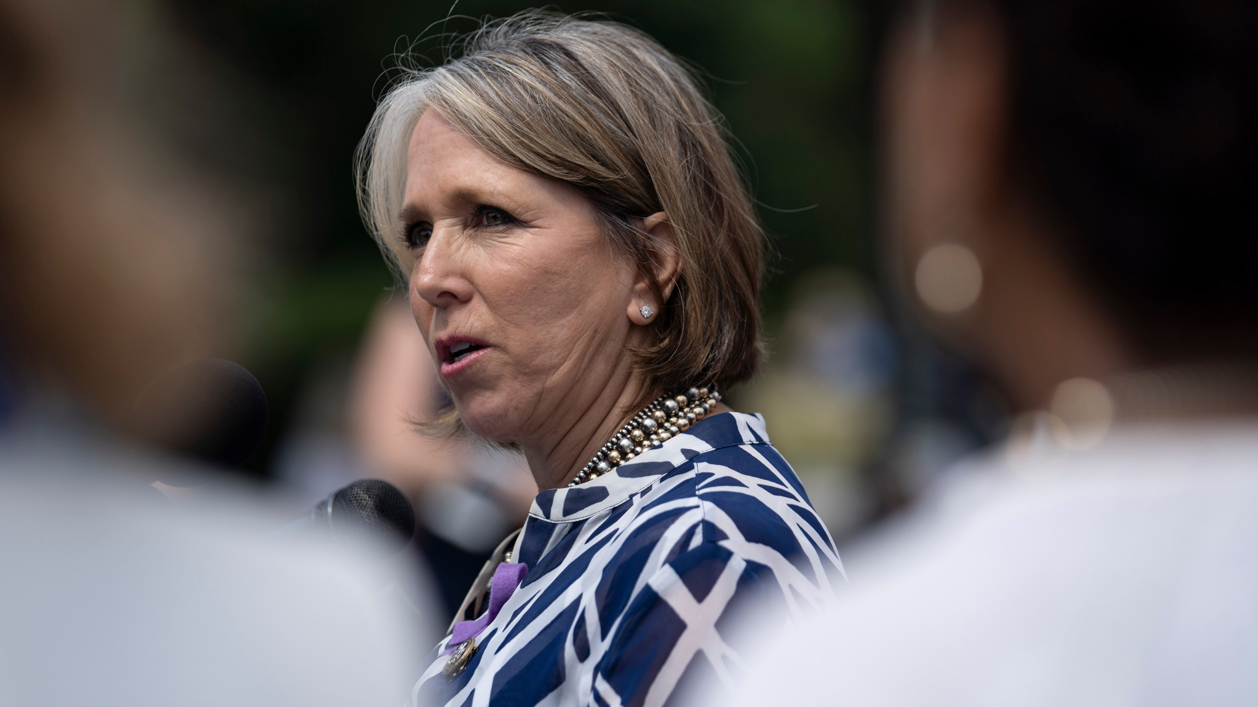 Rep. Michelle Lujan Grisham speaks during a news conference on immigration, outside the U.S. Capitol on June 13, 2018, in Washington, D.C. (Credit: Toya Sarno Jordan/Getty Images)