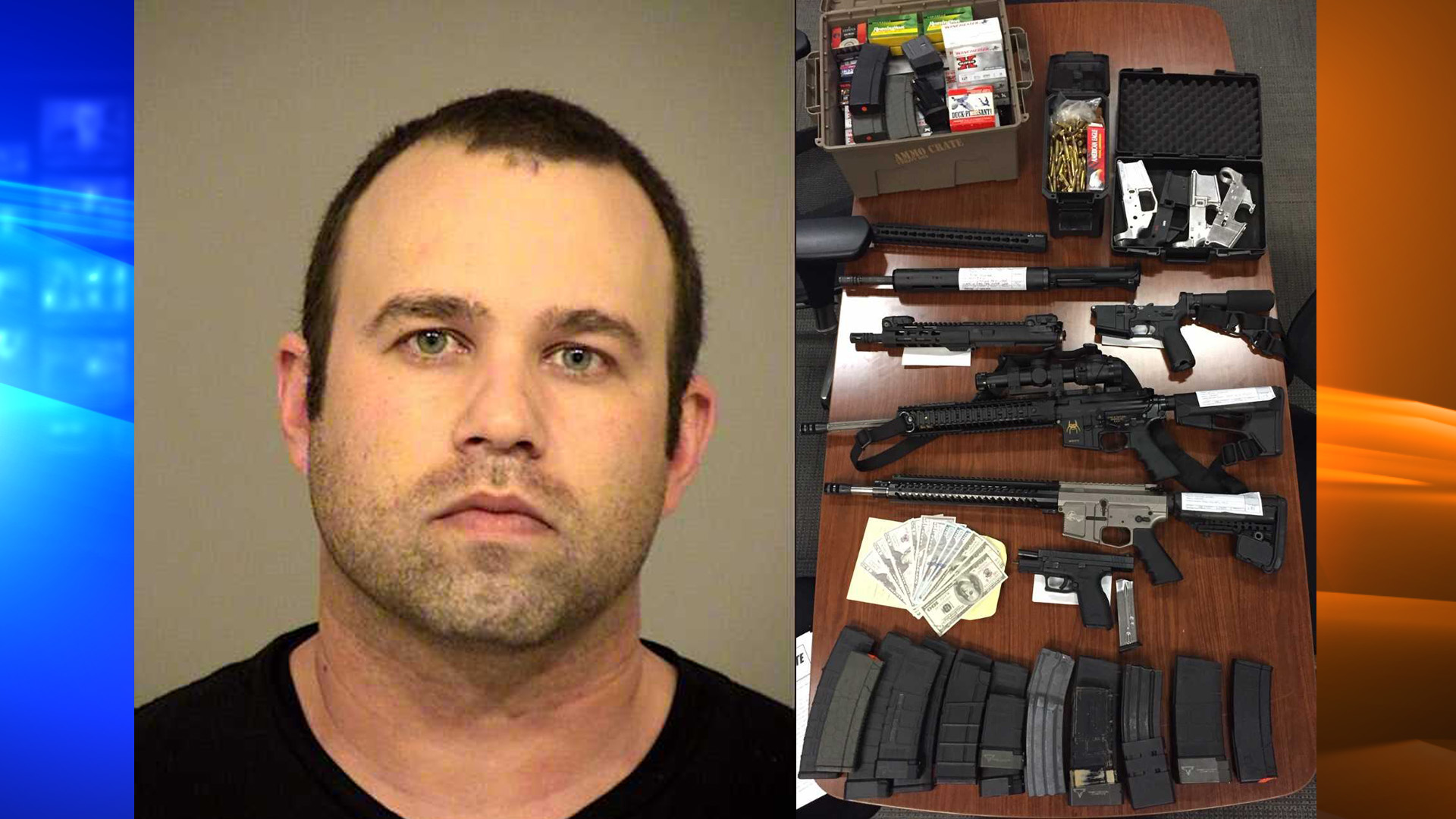 Bijan Hooshyar is seen in this booking photo from the Ventura County Sheriff's Office, along with multiple unregistered firearms, ammunition, and counterfeit cash.