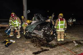 Redlands firefighters respond to the scene of a one-vehicle collision on the 10 Freeway in Redlands on Feb. 16, 2019.