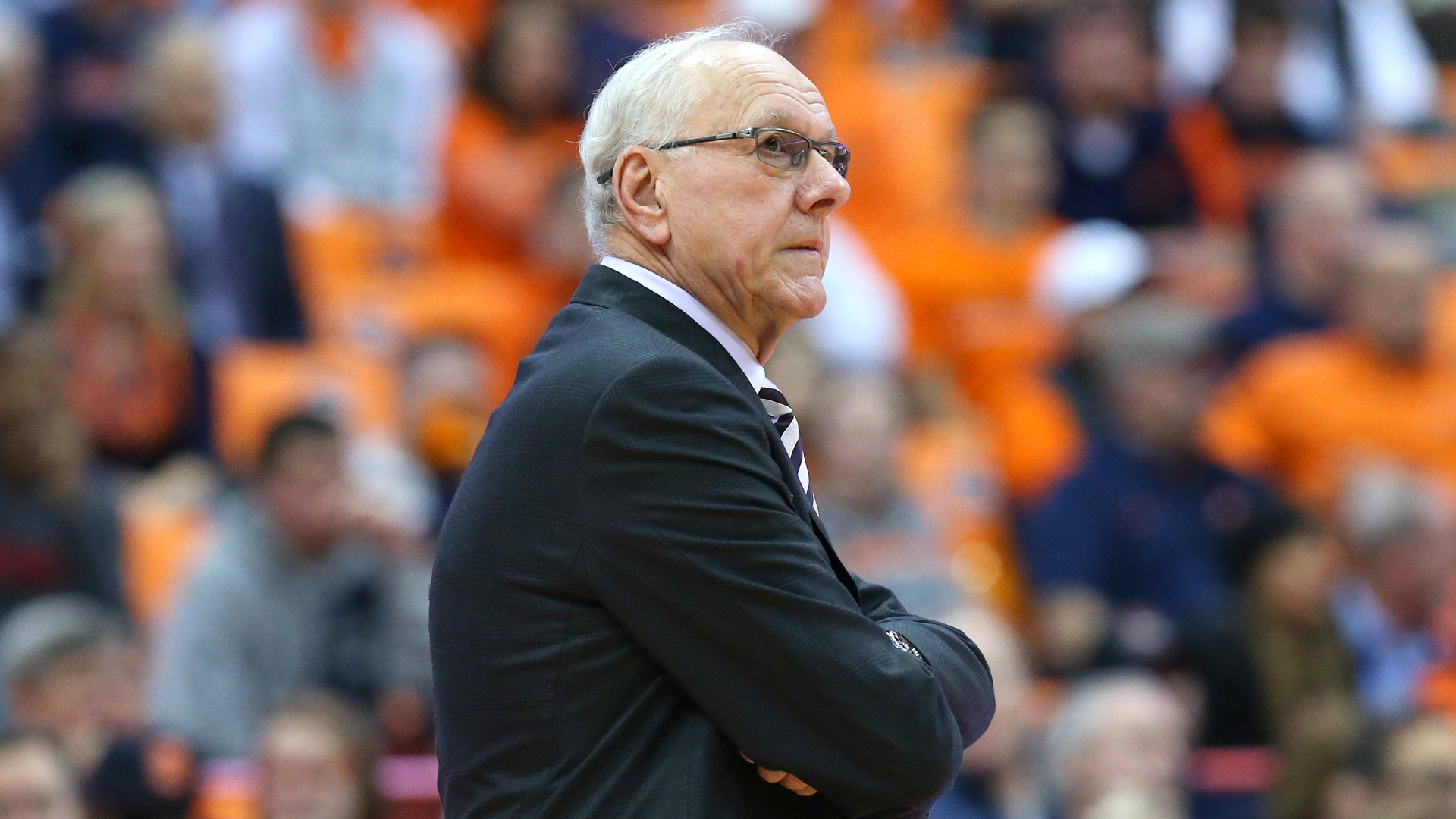 Head coach Jim Boeheim of the Syracuse Orange reacts to a play against the Northeastern Huskies during the second half at the Carrier Dome on December 4, 2018 in Syracuse, New York. (Credit: Rich Barnes/Getty Images)