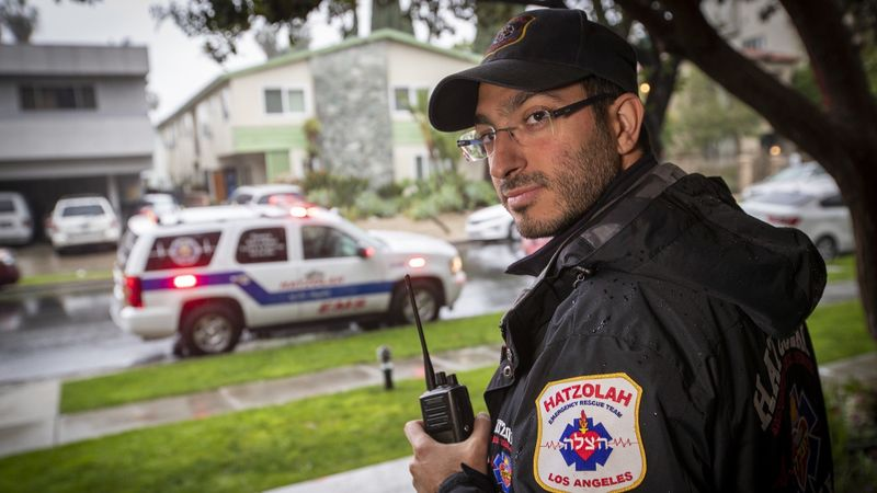 Aharon Sabbagh, an emergency medical technician with Hatzolah, waits for a medical call in the Beverly Hills area in January, 2019. (Credit: Allen J. Schaben / Los Angeles Times)