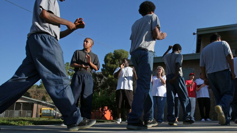 Juvenile students at Camp Afflerbaugh in La Verne in 2013. L.A. County supervisors are weighing whether to ban the use of pepper spray at such facilities. (Credit: Cheryl A. Guerrero / Los Angeles Times)
