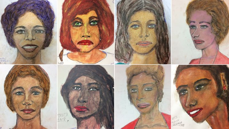Portraits painted by Samuel Little showing 8 of his victims. (Credit: FBI via Los Angeles Times)