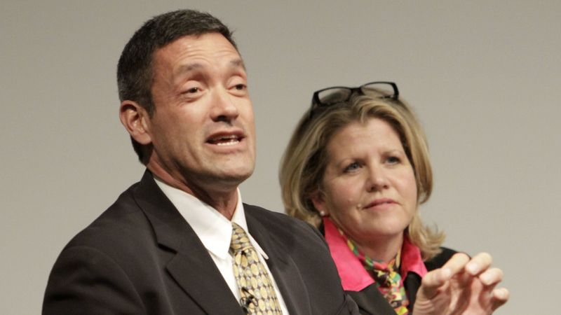 West Hollywood Mayor John Duran is pictured with Pamela Conley Ulich in 2014. (Credit: Lawrence K. Ho / Los Angeles Times)