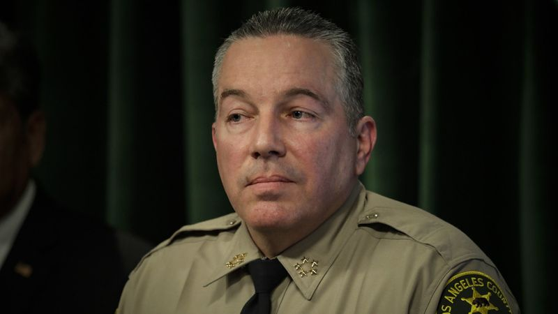 Los Angeles County Sheriff Alex Villanueva is seen during his address on the state of the department at the Hall of Justice on Jan. 30, 2019. (Irfan Khan / Los Angeles Times)