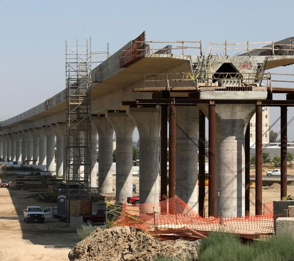 Construction of California's high-speed rail project in Fresno in August 2018. (Credit: Gary Coronado / Los Angeles Times)