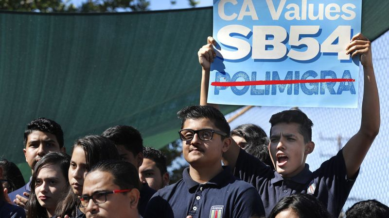 Students at Academia Avance Charter School in Highland Park in October 2017 rally in support of Senate Bill 54, California's so-called sanctuary state law. (Credit: Mel Melcon / Los Angeles Times)