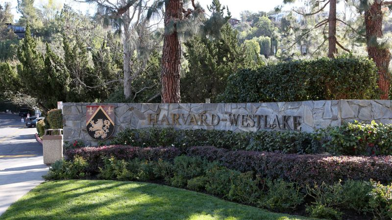 The entrance to the private Harvard-Westlake School's Studio City campus is seen in this undated photo. (Credit: Katie Falkenberg / Los Angeles Times)
