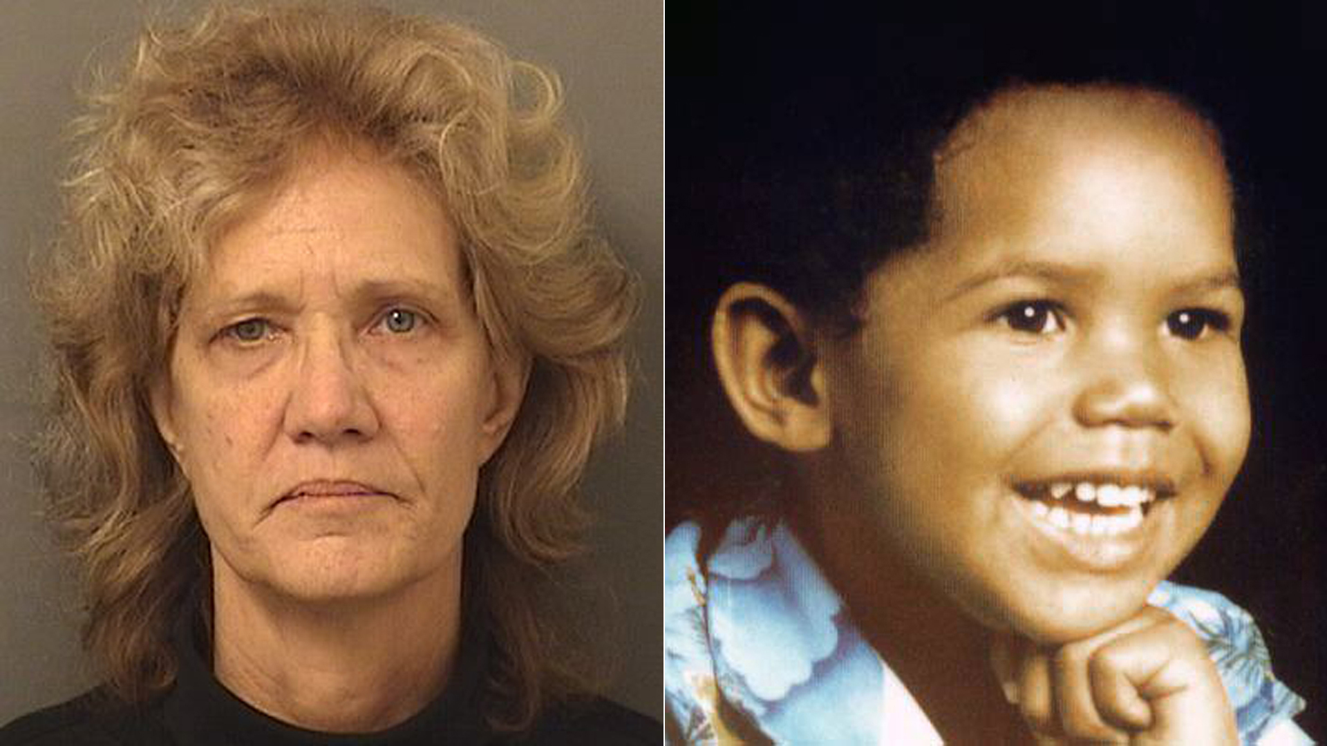 Amy Elizabeth Fleming, left, is seen in a booking photo released by the Palm Beach County Sheriff's Office; Francillon Pierre, right, is seen in a photo released by the National Center for Missing & Exploited Children.