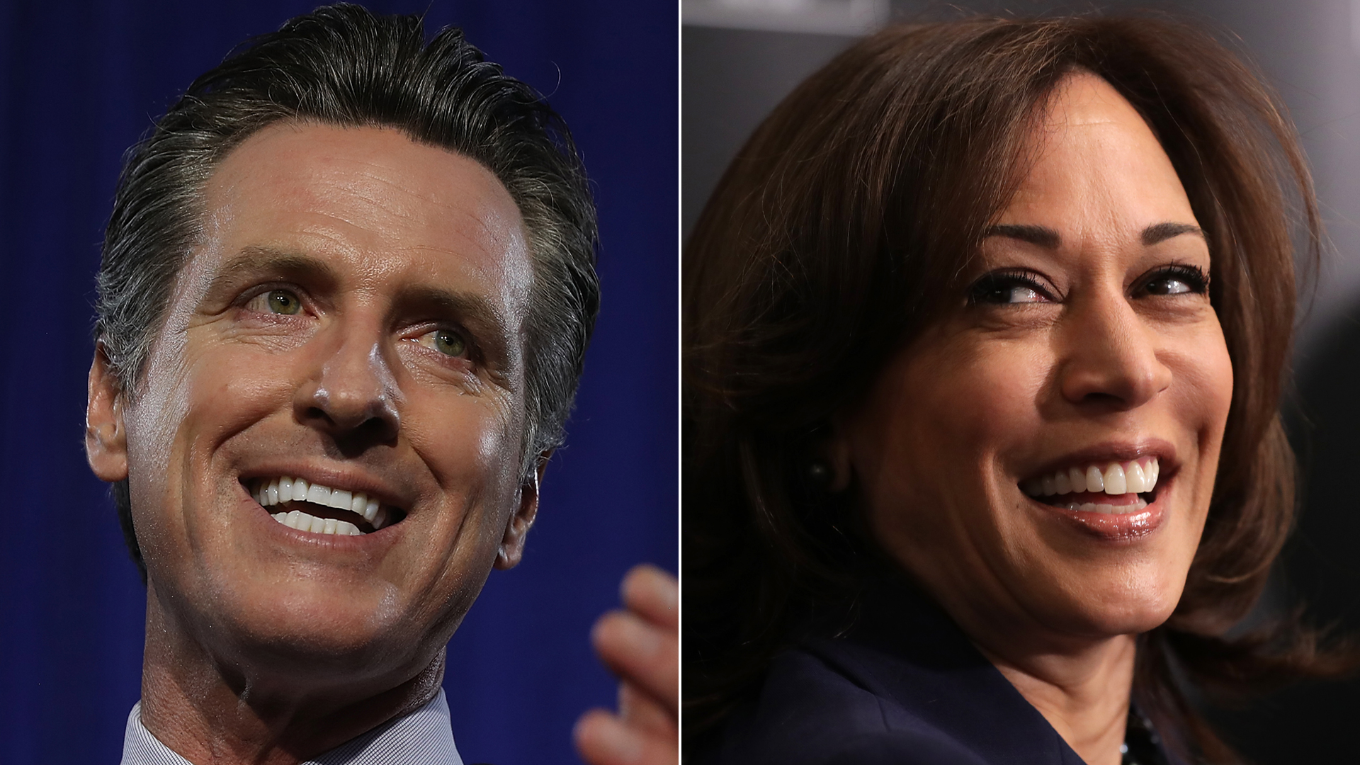 From left: Gavin Newsom speaks during his primary election night gathering in San Francisco on June 5, 2018, and Sen. Kamala Harris participates in an event with leaders from historically black colleges and universities at the JW Marriott in Washington, D.C., on Feb. 7, 2019. (Credit: Justin Sullivan / Chip Somodevilla / Getty Images)