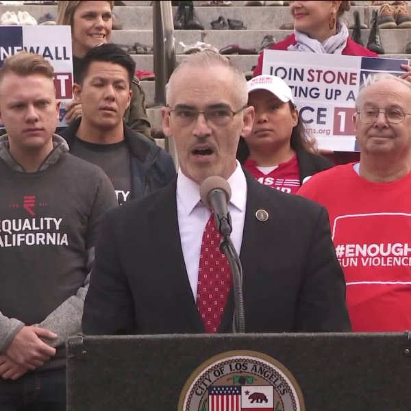 Anti-gun violence advocates stand behind Councilman Mitch O'Farrell at a news conference at City Hall in downtown Los Angeles on Feb. 12, 2019. (Credit: KTLA)