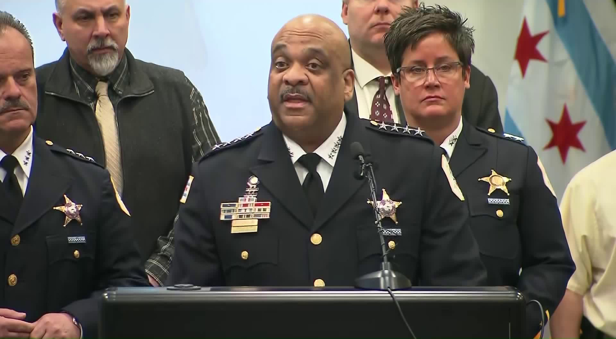 Chicago Police Superintendent Eddie Johnson speaks during a news conference on Feb. 21, 2019. (Credit: CNN)