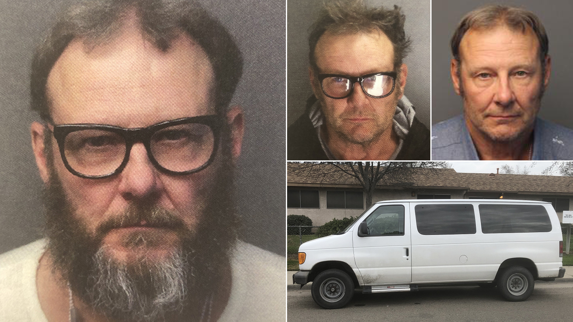 Ronald Gene Thomas and his van are seen in photos released by the Porterville Police Department and, top right, from the California Megan's Law website.