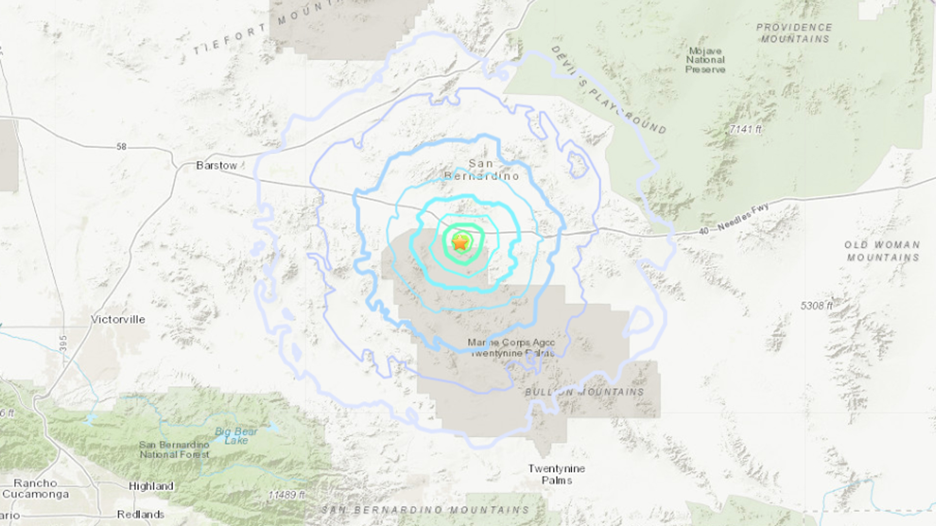 One of the earthquakes measured magnitude 3.8. (Credit: USGS)